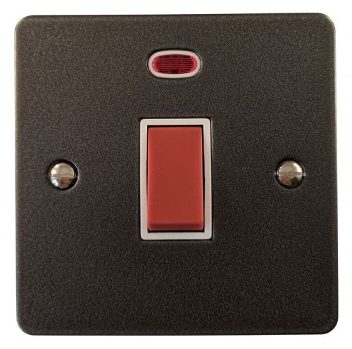 G&H FP46W Flat Plate Pewter 45 Amp DP Cooker Switch & Neon Single Plate